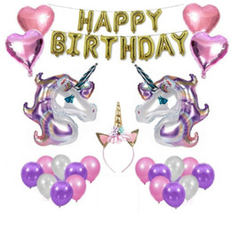 Wholesale unicorn balloon - Unicorn Party Supplies Set Headband Gift Pack Kit For Birthday Party Decorations Balloon Package Combination NNA306