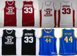 Lower Merion College 33 Kobe Bryant Jersey Homens Vermelho Preto Branco  Azul 44 Hightower Crenshaw High School Bryant Basquete Jerseys Sport dfc85781d