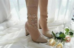 Wholesale Hand Knitting Socks - Autumn winter wool elastic knit hand beaded flowers pearl socks women boots fashion pointed toes stretch high-heeled long shoes