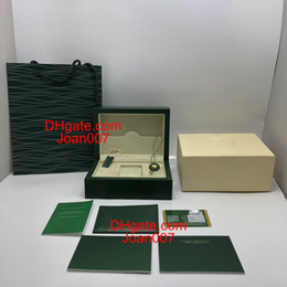 Wholesale Paper For Cards - New Style Brand Green Watch Original Wood Box Papers Gift Watches Boxes Leather bag Card For Rolex Box 116660 116600 Watch Box.