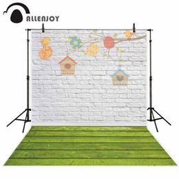 оптом фотофон фотографии фонов красочно нарисованные на белой кирпичной стене зеленый деревянный пол дети фото фон от