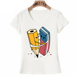Wholesale Art Erasers - Funny cute idea art love Pencils and erasers T-Shirt Novelty summer fashion women t-shirt casual Tops hipster female party Tees