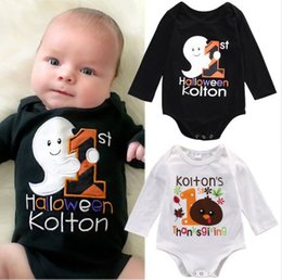 44c857b22546 Baby Halloween Thanksgiving Day Romper Girl Boy letter print jumpsuits Kids  Long sleeve Black White cloth for 0-2T