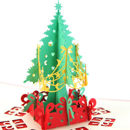Wholesale New Handmade Birthday Cards - Christmas Cards Greeting Card 3D Pop Up Christmas Tree Handmade Happy Birthday Paper Laser Cut New Year Greeting Cards DHL free shipping