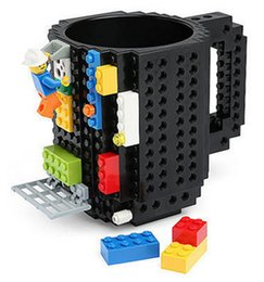 Wholesale Clear Coffee Cups - 2017 Creative Diy Build -On Brick Mug Lego Style Puzzle Cup Building Blocks Water Bottle Frozen Coffee Cup Christmas Toy Mug Gift