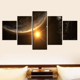 Wholesale Large Framed Posters - Canvas Home Decor Wall Art 5 Panel Planets Poster Universe Large Poster HD Printed Painting Modular Pictures For Living Room