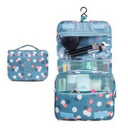 Большая прозрачная косметичка онлайн-Korean Printing Hook Wash Bag Large Capacity Outdoor Travel Cosmetic Portable Cosmetic Cases Clear  Bag Womens Fashion
