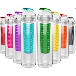 Bouteilles de tritan en Ligne-28Oz Fruits Infuser Bouteille D'eau Sport BPA Tritan Tige Shaker Ball Citron Infuser Orange Tasse Tasse Avec Flip Top Couvercle WX9-334
