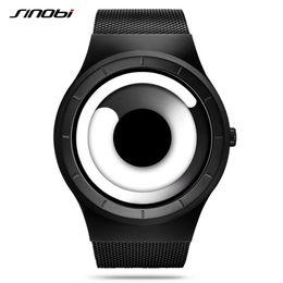 синои черные люди смотреть Скидка Hot SINOBI  Vortex Concept Men's Watch Casual Sport Stainless Steel Mesh Band Modern Unique Creative Black Male Wristwatch
