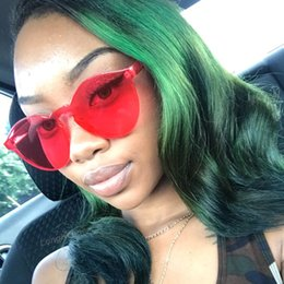 Wholesale Yellow Glass Candy - luxury womens sunglasses brand designer Women Fashion Cat Eye Shades Sunglasses Integrated UV Candy Colored Glasses oculos High Quality