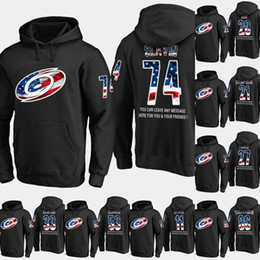 3809117a4 Mens Carolina Hurricanes USA Flag Hoodie 64 Clark Bishop 37 Andrei  Svechnikov 20 Sebastian Aho Hockey Sweatershirt Jerseys Black S-XXXL