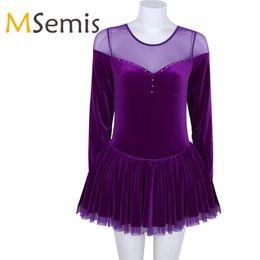 Vestido de ballet de leotardo adulto de invierno de manga larga de terciopelo patinaje artístico ballet baile vestido de gimnasia leotardo vestido para las mujeres desde fabricantes