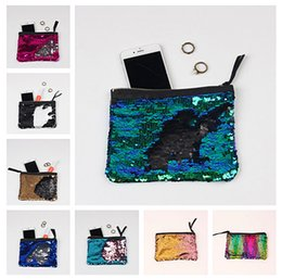 Wholesale Girl Purses - DHL Fashion Girls Mermaid Sequin Evening Clutch Bag Reversible Sequins Coin Wallet Purse Makeup Storage Bags Women Luxury Party Handbag