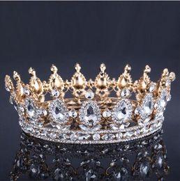 Wholesale white sequin ribbon - 2018 Luxury Vintage Gold Wedding Crown Alloy Bridal Tiara Baroque Queen King Crown gold color rhinestone tiara crown