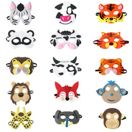accessories felt Promo Codes - 20 style Kid Animal Mask felt Party Mask Panda Fox Cow Tiger Grey wolf mask Halloween Christmas costumes masquerade masks party favors gifts