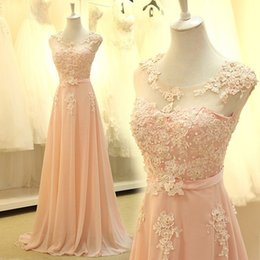 Wholesale Engagement Chiffon Dress - Real Photo Peach Prom Dresses 2018 Beaded Lace Chiffon Long Evening Dress Sash Women Graduation Party Gowns Engagement Dresses