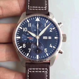 Wholesale Mechanical Time - Super ZF Factory Mens Automatic Chronograph Eta 7750 Watch Men Day Time Date 377706 Leather Valjoux Watches Swiss Sapphire Sport Stopwatch