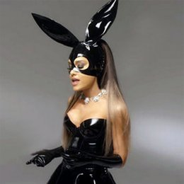 Wholesale fetish rubber hood - 2018 club party sexy black latex christmas bunny rabbit mask hoods unisex fetish rubber party hood gummy with hair hole back zipper