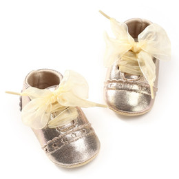 Wholesale Purple Ballerina Shoes - 2018 Baby Girl Newborn Shoes Spring Summer Sweet Light Mary Jane Big Bow Knitted Dance Ballerina Dress Pram Crib Shoe