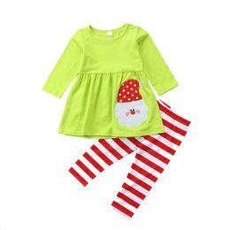 Wholesale girls santa claus clothing - Baby Xmas outfits children girls Santa Claus dress top+stripe pants 2pcs set Autumn Boutique Christmas kids Clothing Sets C4789