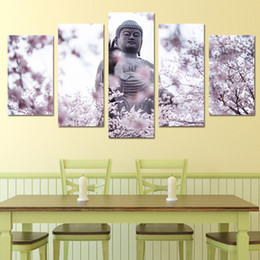 Wholesale Cherry Blossom Canvas Painting - Free shipping Popular Solemn 5 Panel Buddha Statue Cherry Blossoms Flower Landscape Canvas Painting Pictures Wall Modern Modular Home Decor