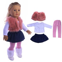 Wholesale Western Dresses For Girls - 4pcs a set American girl doll clothes set winter coat dress and legging for 18 inch doll suit for 43cm new born baby dolls