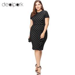864d1e51143c Women XXXL Plus Size Dress Polka Dot Print Ruffle Split Short Sleeves  Zipper Mini Bodycon Dress Elegant Ladies Office Work Wear plus size office  wear ...