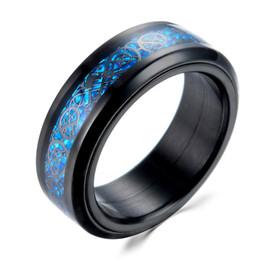 2019 волокнистый углерод темно-синий Углеродного волокна кольцо черный синий цвет свечение в темноте Dragon Spinner поворот 316L титана из нержавеющей стали мужчины кольцо оптом дешево волокнистый углерод темно-синий