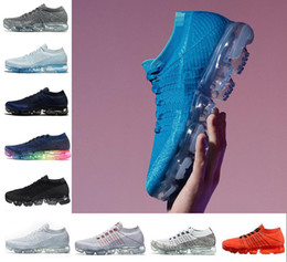 Wholesale Red Light Platinum - 2018 with box Rainbow VaporMax Pure Platinum Men Woman Shock Running Shoes For real Quality Fashion Men Casual VaporMaxes Sports Sneakers