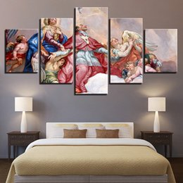 Pinturas religiosas lienzo online-Lienzo Wall Art Pictures 5 piezas St Charles 'Church Paintings impresiones HD Frescos religiosos cartel Modular Home Decor Framework