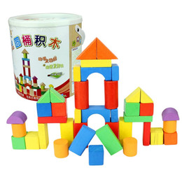 Wholesale Plastic Blocks For Babies - 40 Grain Wood Large Barrel Building Blocks Educational Toys Developing Intelligence Suitable For Baby Gift