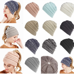 Wholesale knitted warmers - 10 Colors Women wool Ponytail Beanie Hats Crochet Winter Knitted Skullies Warm Caps Female Knit Messy Bun Girls Hats AAA698