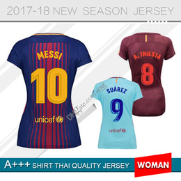 Wholesale Messi Quality Jersey - woman thailand quality Coutinho messi Soccer Jersey Suarez pique A.Iniesta O.Dembele uniforms football shirts