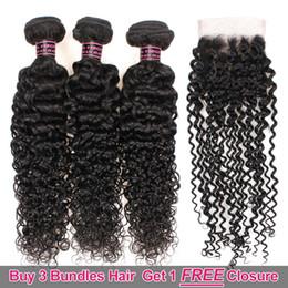 chiusure per capelli in vendita Sconti Ishow Hair Big Sales Promotion Acquista 3 pacchi Ottieni una chiusura gratuita Brasiliana crespi ricci non trasformati peruviani
