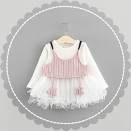 Wholesale Korean Baby Vest - Everweekend Kids Girls New Spring Fashion Baby White Color Tutu Korean 2pcs Sets Vest and Dress Girls Outfits