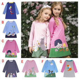 Wholesale New Winter Dress Styles - 2018 New Girls Dresses Cartoon Print Princess Autumn Winter Long Sleeve Skirt Fashion Kids Clothing Boutique Children European Style Clothes