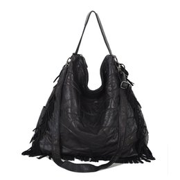 d54862fa8da4 Hot 2017 Fashion Elegant Women Leather Handbags Black Woman Messenger Bags  Brand Designers Handbag Tassel Classic Hoboss