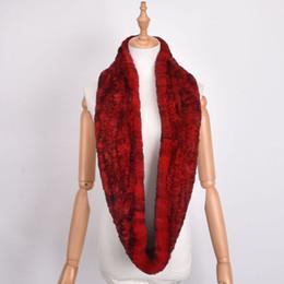 Wholesale knitted rabbit fur shawls - Real Rex Rabbit Fur Scarf Collar Knit Infinite Scarves Women Loop type Fur Scarf Women Real Rabbit Shawl