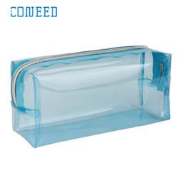 Wholesale wholesale plastic pencil boxes - makeup Storage Bag Organizer Candy Color Pencil Box Transparent School Girl Kawaii Cases School Pencil Case u70811