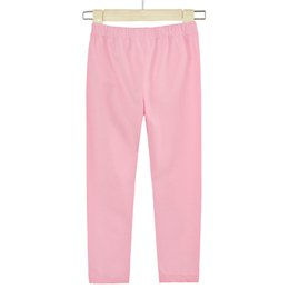 Wholesale Thin Korean Girls - Autumn style thin pants wholesale girl's candy color leggings Korean version of high elastic cotton nine-point pants.