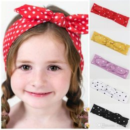 Wholesale turban head wrap bands - Xmas Bohemian Rabbit ears Dot Elastic cotton girl baby bow Headband Dot Turban Twist Head Wrap Twisted Knot Soft Hair band BandanasKHA549