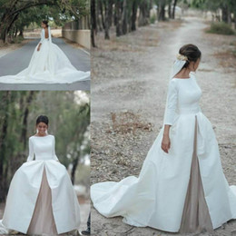 Wholesale Vintage Dress Shirts - Vintage Long Sleeve Backless Wedding Dresses Country Garden Satin Chapel Train Ball 2018 Vestido de novia Bridal Gown Plus Size Arabic