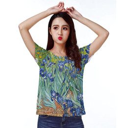 Wholesale Field Flowers - Track Ship+New Vintage Retro Fresh Hot T-shirt Top Tee van Gogh Painting Irises Flower Field 1488