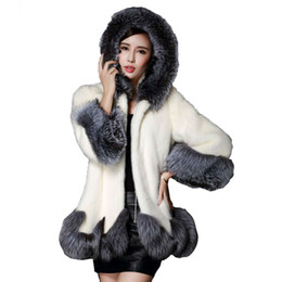 Wholesale Jacket Rabbit Fur Hoods - Faux Fur Coat With Hood Women Winter White Long Faux Fur Jacket Womens Rabbit Plush Gilet Fashion Fake Furry Ladies Jackets