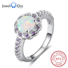 Wholesale Purple Opals - whole saleFlower Shape Opal Stone With Purple CZ Accessorise 100% 925 Sterling Silver Ring Ocean Style Gifts For Women (JewelOra RI102890)