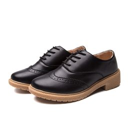 Wholesale Big Brown Sale - 2018 Big Size 7.5 35 42 Hot Sale High Quality Bullock Retro Oxford Women Casual Shoes Wholesale Free Shipping