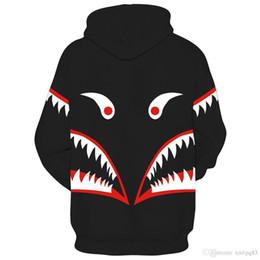 зубочистка Скидка Оптовая мужчины 3D цифровой печатный с капюшоном куртка акула зубы глаз балахон хип-хоп свободные балахон Горячий Новый стиль