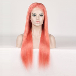 Wholesale Yellow Long Wigs - Full Lace Human Hair Wigs Orange Yellow Colorful Wigs for Woman Pre Plucked With Baby Hair Brazilian Remy Hair Wigs Length 10--24 inch