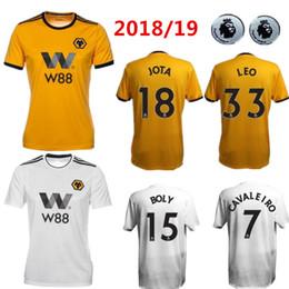 Uniformes amarelos on-line-18 19 Wolverhampton Wanderers camisa de futebol em casa amarelo Jota fora leo branco 2018 2019 Cavaleiro Customized football uniform 2018 2019 Vendas