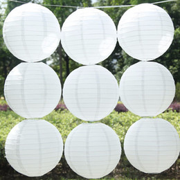 Wholesale Traditional Lanterns - 10pcs 16''40cm Chinese Traditional White Paper Lantern Led Lamp Container Kid's Flesh DIY Gift Wedding Outdoor Party Decoration